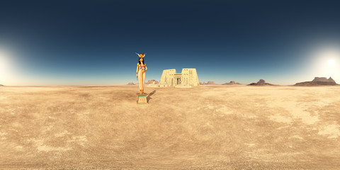 360 Grad Panorama mit dem Tempel des Horus von Edfu und der Göttin Hathor