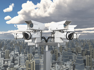 Surveillance camera over a big city