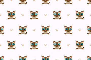 Vector cartoon character siamese cat seamless pattern for design.
