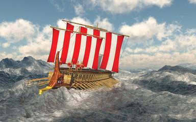 Odysseus und seine Gefährten in stürmischer See