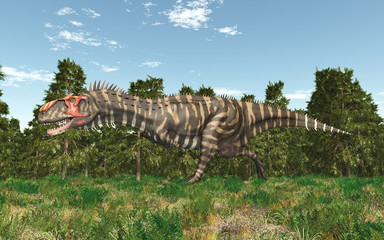 Dinosaur Rajasaurus in a forest