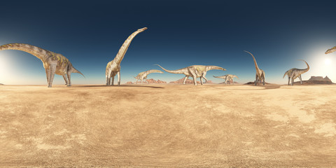 Spherical 360 degrees seamless panorama with a group of dinosaurs in a desert