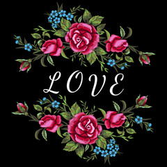 Red roses and blue flowers embroidery on black background. Love inscription, T-shirt design, element for greeting Valentine cards. Trend floral design. Satin stitch imitation, vector.