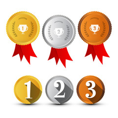 First, Secon, Third Place Medals Symbols Set. Gold, Silver, Bronze Vector Awards Icons.