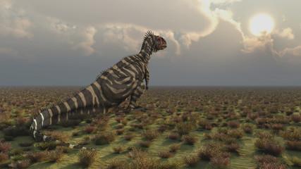 Sonnenuntergang mit dem Dinosaurier Rajasaurus