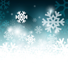 White and Blue Winter Background with Snowflakes