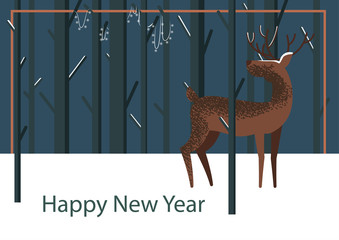 Cute vector childish deer illustration