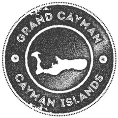 Grand Cayman map vintage stamp. Retro style handmade label, badge or element for travel souvenirs. Dark grey rubber stamp with island map silhouette. Vector illustration.