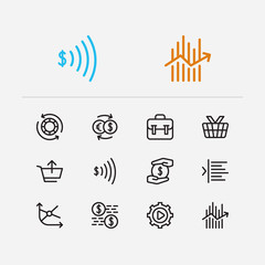 Trading icons set. Portfolio and trading icons with moving average, mutual funds and margin. Set of invest for web app logo UI design.