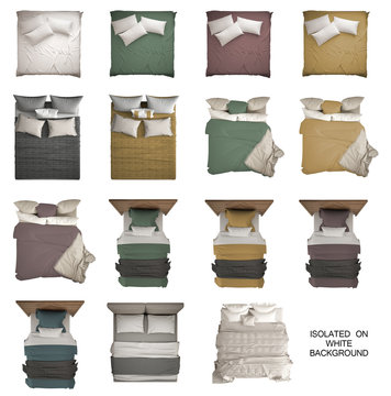 Set of 15 modern monochrome and colored beds, single and double bed, pillows, headboard and blankets, isolated on white background, above, plan, top view