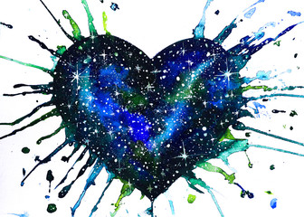 Dipinto cuore galassia cielo stellato