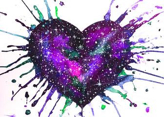 dipinto acquerello cuore viola amore spazio