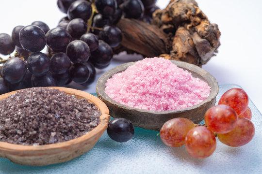Spa treatment and skin care with Malvasia vulcanic grape aromatic sea salt