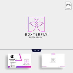 Butterfly Photography logo template with business card