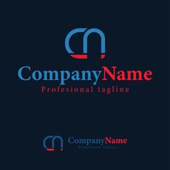 Logo design template letter c n abstract monogram line.