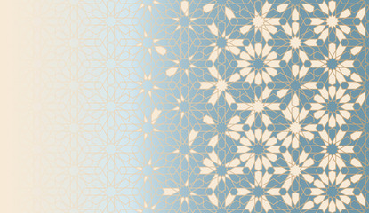 Tile repeating vector border. Geometric halftone pattern with color arabesque disintegration