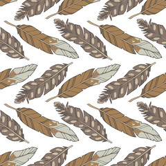 Graphic illustration cartoon style seamless boho pattern with natural brown eagle feathers on white
