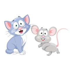 Vector Illustration Of Cartoon Cat And Mouse