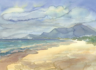 Seaside with mountains watercolor landscape. Summer illustration