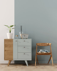 Interior with a blue chest of drawers