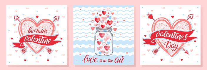 Collection of creative Valentines Day cards.Hand drawn lettering with hearts,arrows and maison jar.Romantic illustrations perfect for prints,flyers,posters,holiday invitations and more.