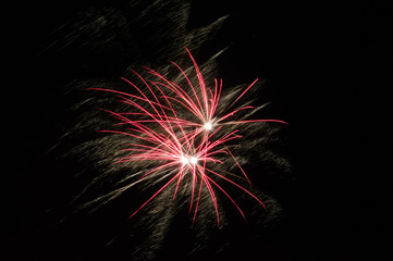 Fireworks light up the sky with display.