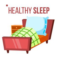 Healthy Sleep Vector. Comfortable Bed. Night Room. Isolated Flat Cartoon Illustration