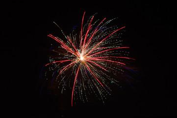 Fireworks in dark night sky.