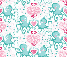 Vector seamless pattern of sea life with cute green octopuses and pink corals on white background
