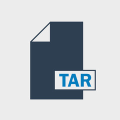 TAR file format Icon on gray background.