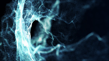 Abstract water splash.Big data. Cyber or technology background. Neon flare. 3D rendering.