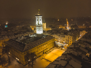 aerial view of capital building in center of european city at sunset in winter time