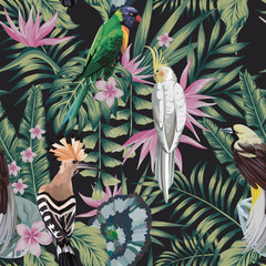 Foto op Canvas Botanisch Tropical birds plants leaves flowers abstract color black background