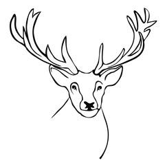 Animal-Elk Head Line Drawing