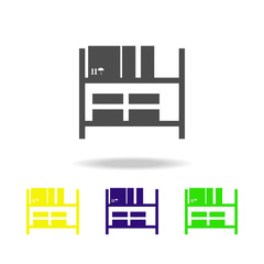 Warehouse shelves multicolored icons. Signs and symbols collection icon for websites, web design, mobile app on white background