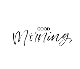 Good morning phrase. Vector hand drawn brush style modern calligraphy.