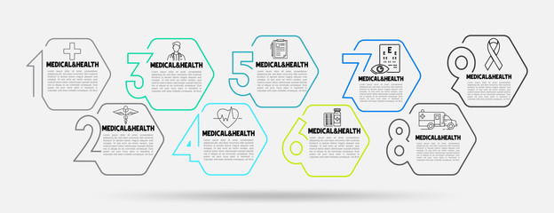 Medical and Healthcare Business Infographic template. Thin line hexagon design with numbers 9 options or steps.