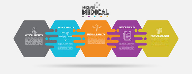 Medical and Healthcare Business Infographic template.Solid and button hexagon shape design with numbers 6 options or steps.