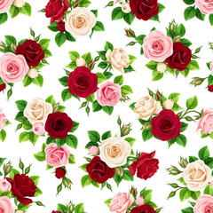 Vector seamless pattern with red, pink, burgundy and white roses on a white background.