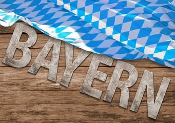 Bayern - Holzbuchstaben mit bayrischer Flagge