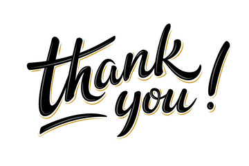 Thank you bulk lettering sign. Handwritten modern brush lettering on white background. Text for postcard, invitation, T-shirt print design, banner, poster, web, icon. Isolated vector