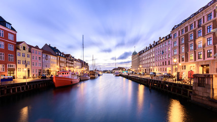 Nyhavn christmas market during night with colorful christmas decorations