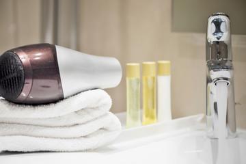 Bathroom hotel setting closeup