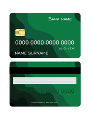 Realistic detailed credit card set with colorful green abstract design background. Front and back side template. Vector illustration.