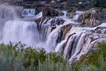 Shoshone Falls in Twin Falls Idaho at sunset in the summer