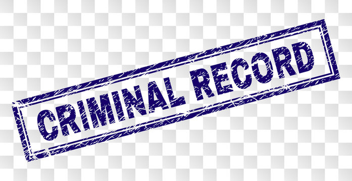 CRIMINAL RECORD stamp seal print with rubber print style and double framed rectangle shape. Stamp is placed on a transparent background.