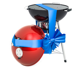 Barbecue grill wrapped ribbon and bow, gift concept. 3D rendering