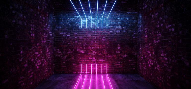 Dark Sci Fi Modern Futuristic Empty Grunge Brick Wall Room  Purple Blue Pink glowing Lights Concrete Floor Neon Vertical Line Light Shapes Empty Space 3D Rendering