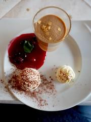 Christmas dessert with pudding and cream