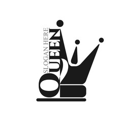 Black flat icon queen with  princess crown silhouette. Vector minimal illustration of dark logo and text for shop, app store, elegant boutique, beauty saloon emblem